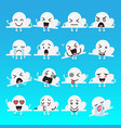 cloud character emoji set vector image