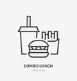 combo lunch flat line icon thin sign of vector image vector image