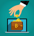 concept crypto currency hand with a bitcoin vector image vector image