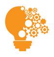 conceptual idea lightbulb with gear pieces vector image vector image