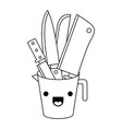 container with knives monochrome kawaii silhouette vector image vector image