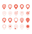 coral pin marker icon set with graphic elements vector image vector image
