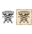 cowboy skull and crossed pistols emblem vector image vector image