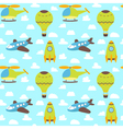 Cute seamless pattern with plane helicopter hot vector image vector image