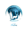 deer in winter night forest paper cut style vector image