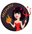 devil girl for halloween sexy she-devil with vector image vector image