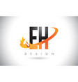 eh e h letter logo with fire flames design and vector image vector image