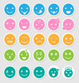 Emoticon icons set as labels vector image