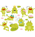flat set of frog in different actions vector image