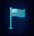 glowing neon national flag usa on flagpole icon vector image vector image