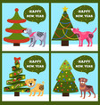 happy new year banners with dotted puppy tree set vector image vector image