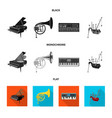 isolated object of music and tune sign collection vector image