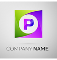 Letter P logo symbol in the colorful square on vector image vector image