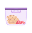 lunch box with cookie and strawberry healthy food vector image vector image
