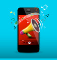 megaphone on mobile phone screen music player vector image vector image