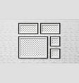 modern frames on brick wall background set vector image vector image