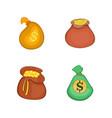 money bag icon set cartoon style vector image