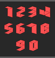 numbers set isometric parallel surfaces shape vector image vector image