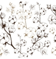 organic stems of cotton plants on white background vector image