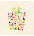 Ornamental Christmas gift box with reindeer vector image vector image