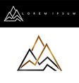 Overlapped line mountains symbol golden vector image