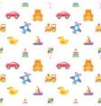 pattern with colorful baby toys vector image vector image