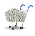 pile dollar banknotes in a shopping cart vector image vector image