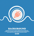 plug icon sign Blue and white abstract background vector image