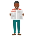 Reporter reading newspaper vector image