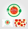 ripe tomato cafe logo fork spoon like circle vector image