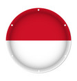 round metallic flag of indonesia with screw holes vector image vector image