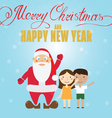 Santa Claus and children Christmas greeting card vector image vector image