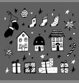set christmas design doodle elements ha vector image