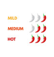 set of hot red pepper strength scale indicator vector image