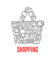 shopping bag symbol made up of sale icons vector image