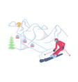 skier on winter mountain landscape vector image