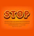 stop 3d alphabet game logo tittle text effect vector image vector image