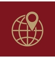 The pin on globe icon Travel and map navigation vector image