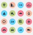 transportation icons set with hump bridge falling vector image