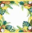 watercolor tropical card of fruits and palm vector image vector image