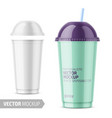 white disposable plastic cup with sample design vector image vector image