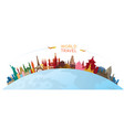 world skyline curve landmarks silhouette colorful vector image