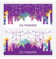 greeting card for muslim festival eid mubarak vector image