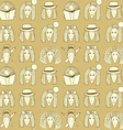 Sketch girls face pattern vector image