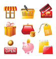 9 bright shopping icons set vector image
