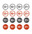 age restrictions icons set adults content signs vector image vector image