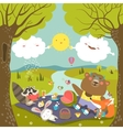 Animals at picnic in forest vector image vector image