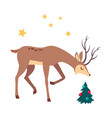 beautiful christmas deer and decorated fir tree vector image