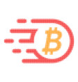 bitcoin halftone dotted icon with fast rush effect vector image vector image