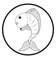 black-and-white goldfish vector image